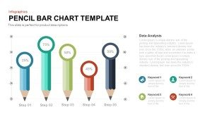 Pencil Bar Chart PowerPoint Template and Keynote Slide