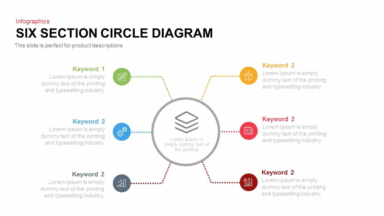 Four and Six Section Circle Diagram Template for PowerPoint and Keynote