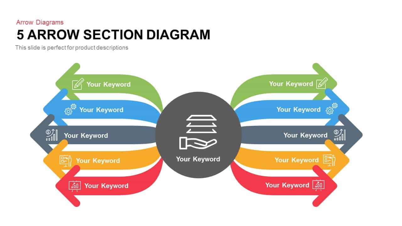 5 Section Arrow Diagram Template for PowerPoint and Keynote Slide