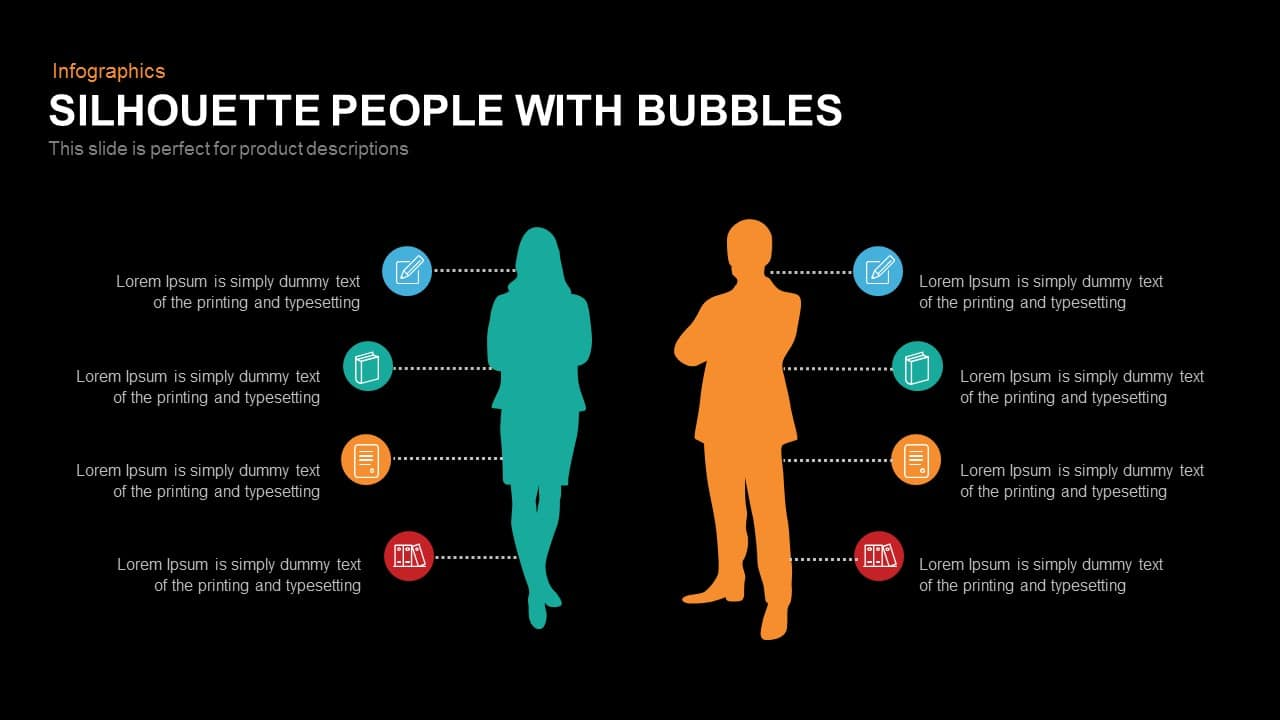 Silhouette People with Bubbles Template for PowerPoint and Keynote