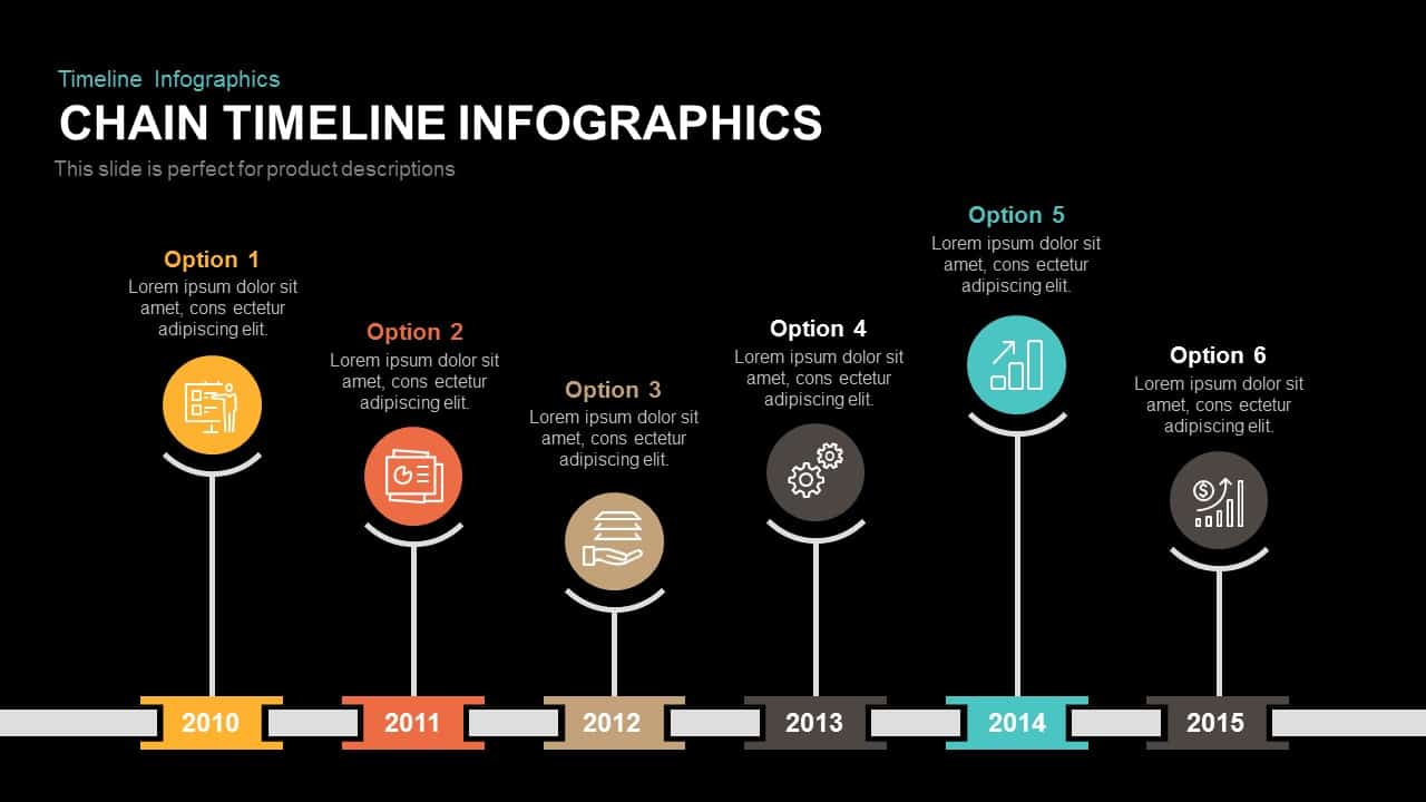 Chain Timeline Infographics Powerpoint and Keynote template