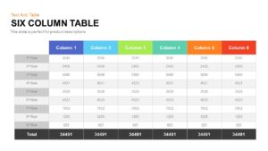 Six Column Table Template for PowerPoint and Keynote