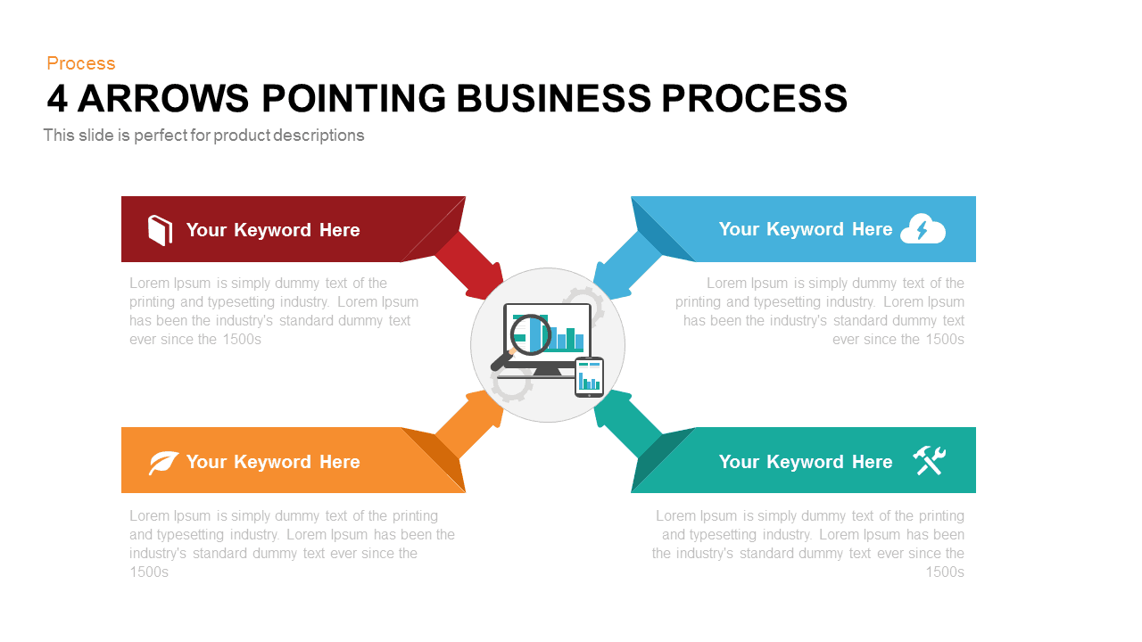 4 Arrows Pointing Business Process PowerPoint Template