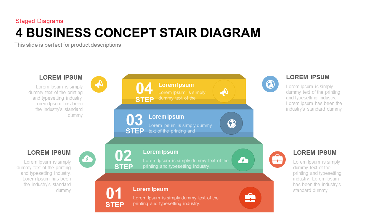 Business concept stair diagram PowerPoint template