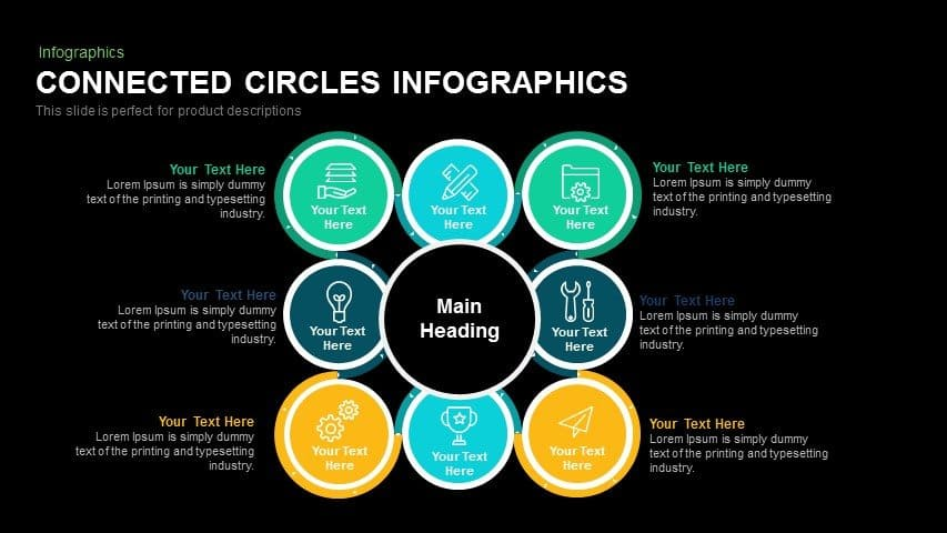 Connected Circles Infographics Powerpoint and Keynote template
