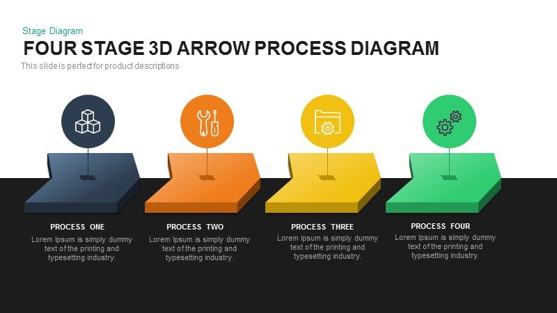Three Stage 3d Arrow Process Diagram