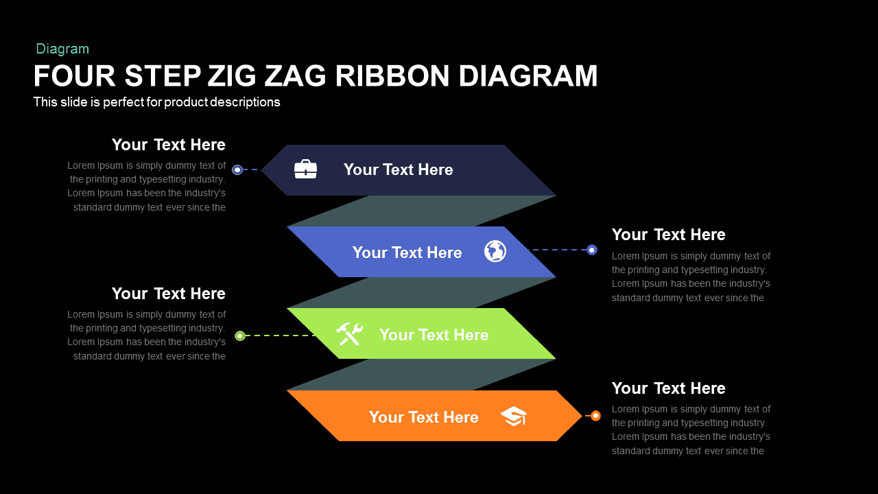 Four Step Zig Zag Ribbon Diagram