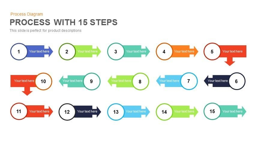 15 steps process flow PowerPoint template and keynote