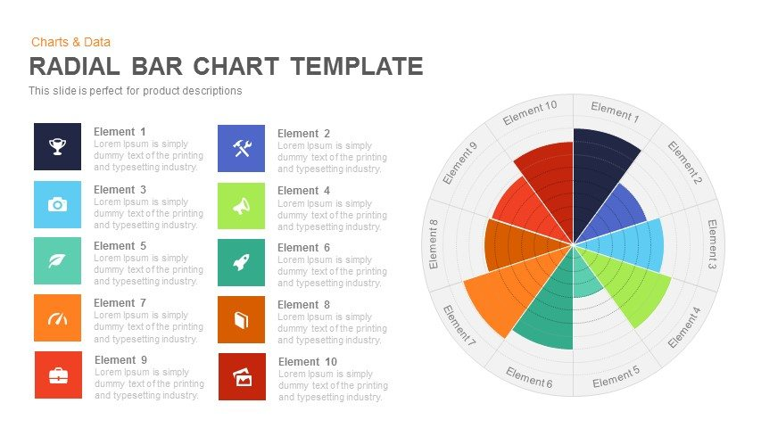 radial bar chart template powerpoint and keynote template slidebazaar. Black Bedroom Furniture Sets. Home Design Ideas
