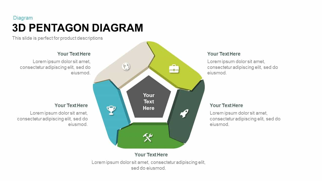 3d Pentagon Diagram PowerPoint Template and Keynote