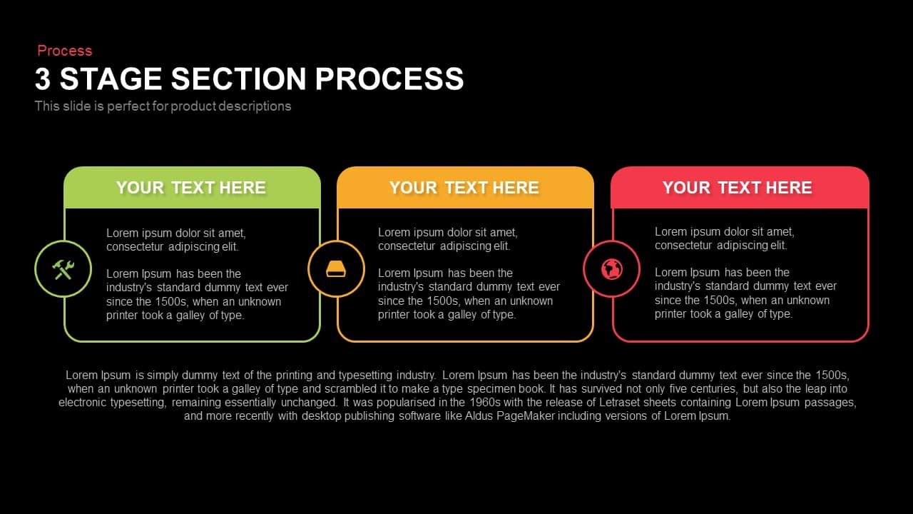 3 Stage Section Process Powerpoint and Keynote template
