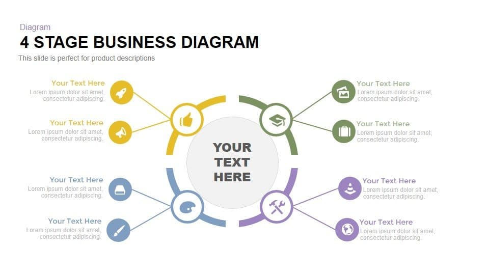 4 stage PowerPoint business diagram template and keynote