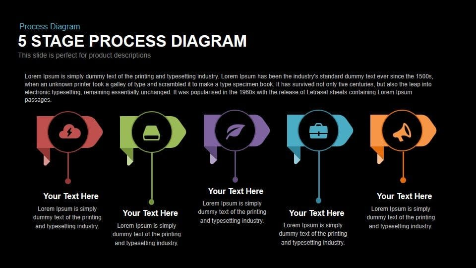 5 stage process diagram PowerPoint template and keynote