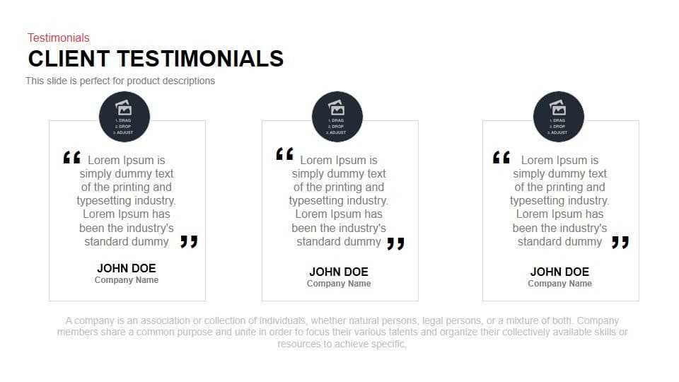 Client testimonials powerpoint and keynote template for Business testimonial template