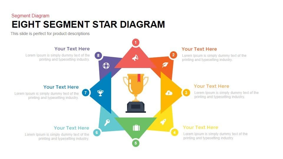 Eight Segment Star Diagram Powerpoint and Keynote template