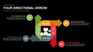 Four Directional Arrows PowerPoint Templates and Keynote