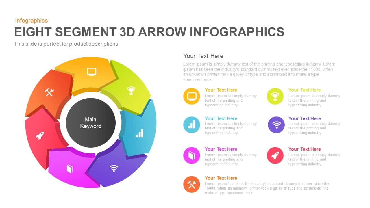 Eight Segment 3D Arrow Powerpoint Infographics and Keynote template