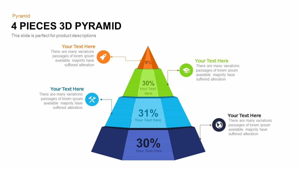 4 pieces 3d pyramid PowerPoint template and Keynote