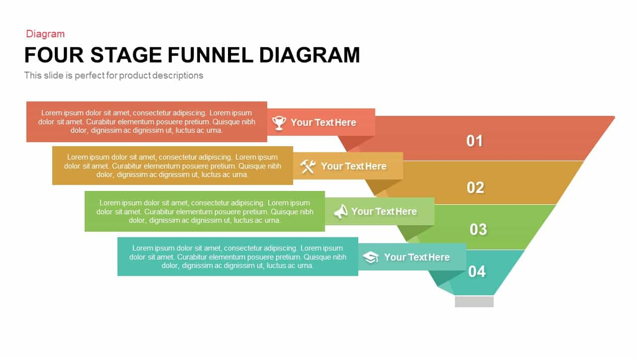 Four Stage Funnel Diagram Powerpoint and Keynote template