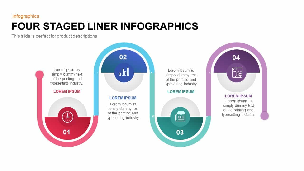 Four Staged Liner Infographics Powerpoint and Keynote template