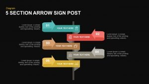 5 Section Arrow Sign Post Template for PowerPoint and Keynote
