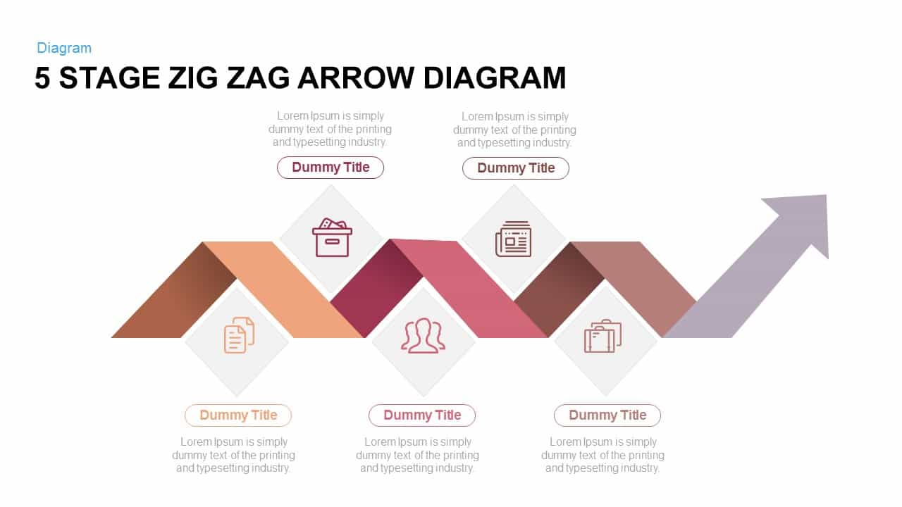 5 stage zigzag arrow diagram powerpoint and keynote template