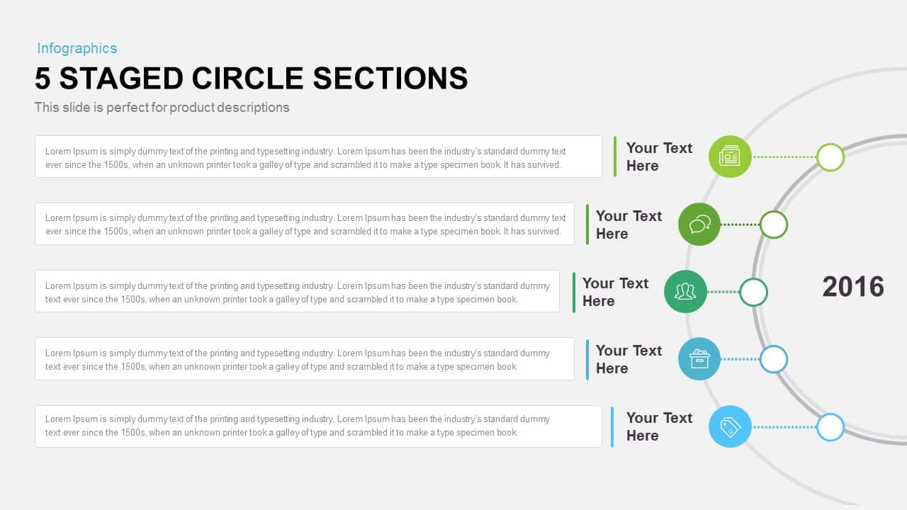 5 staged circle diagram PowerPoint template and keynote