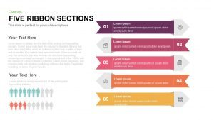 Five Sections Ribbon PowerPoint Template and Keynote Slide