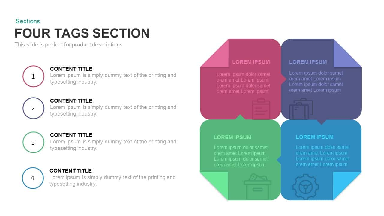 Four Tags Section Powerpoint and Keynote template