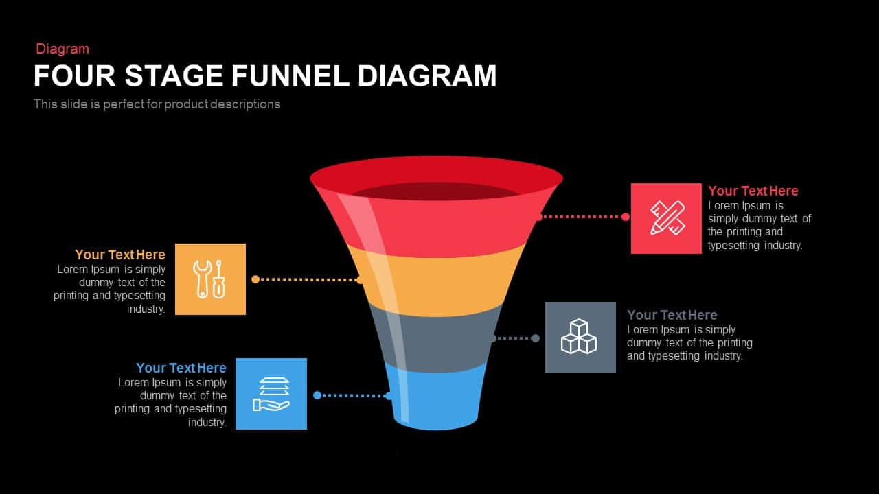 Four and Five Stage Funnel Diagram Powerpoint and Keynote template
