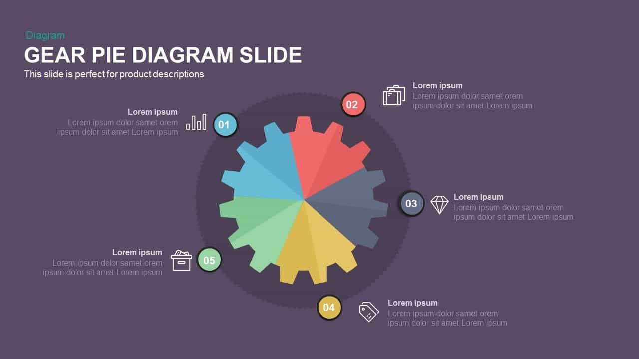 Gear Pie chart PowerPoint Template and Keynote Slide