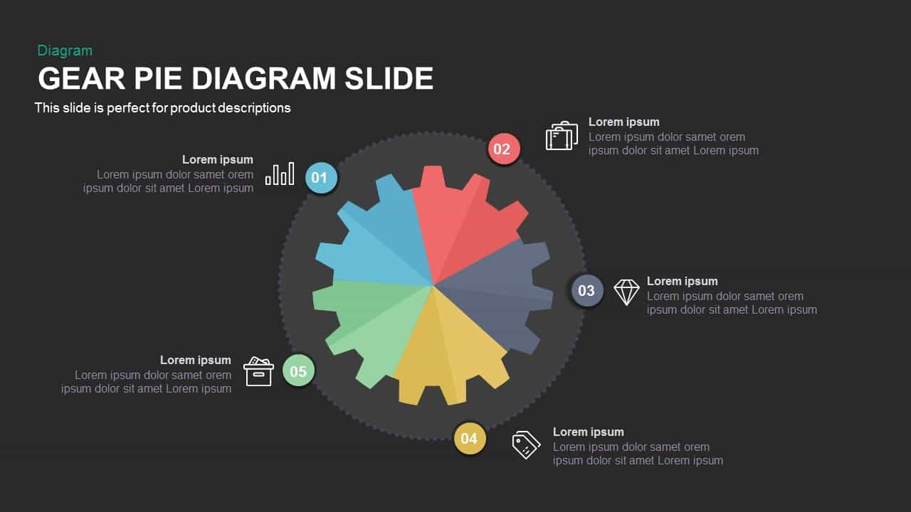 gear pie chart PowerPoint template and keynote