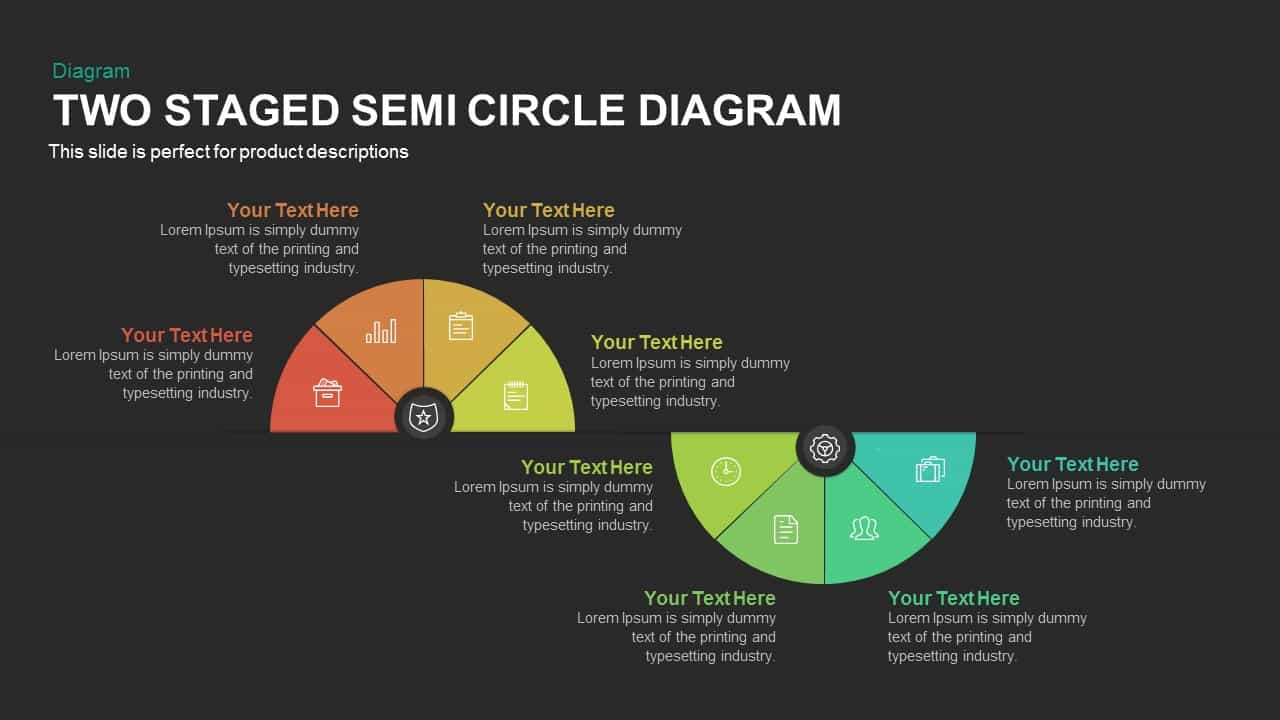 2 Stage Semi Circle Diagram for PowerPoint and Keynote