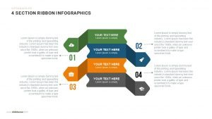 4 Section Ribbon Infographics Powerpoint and Keynote template