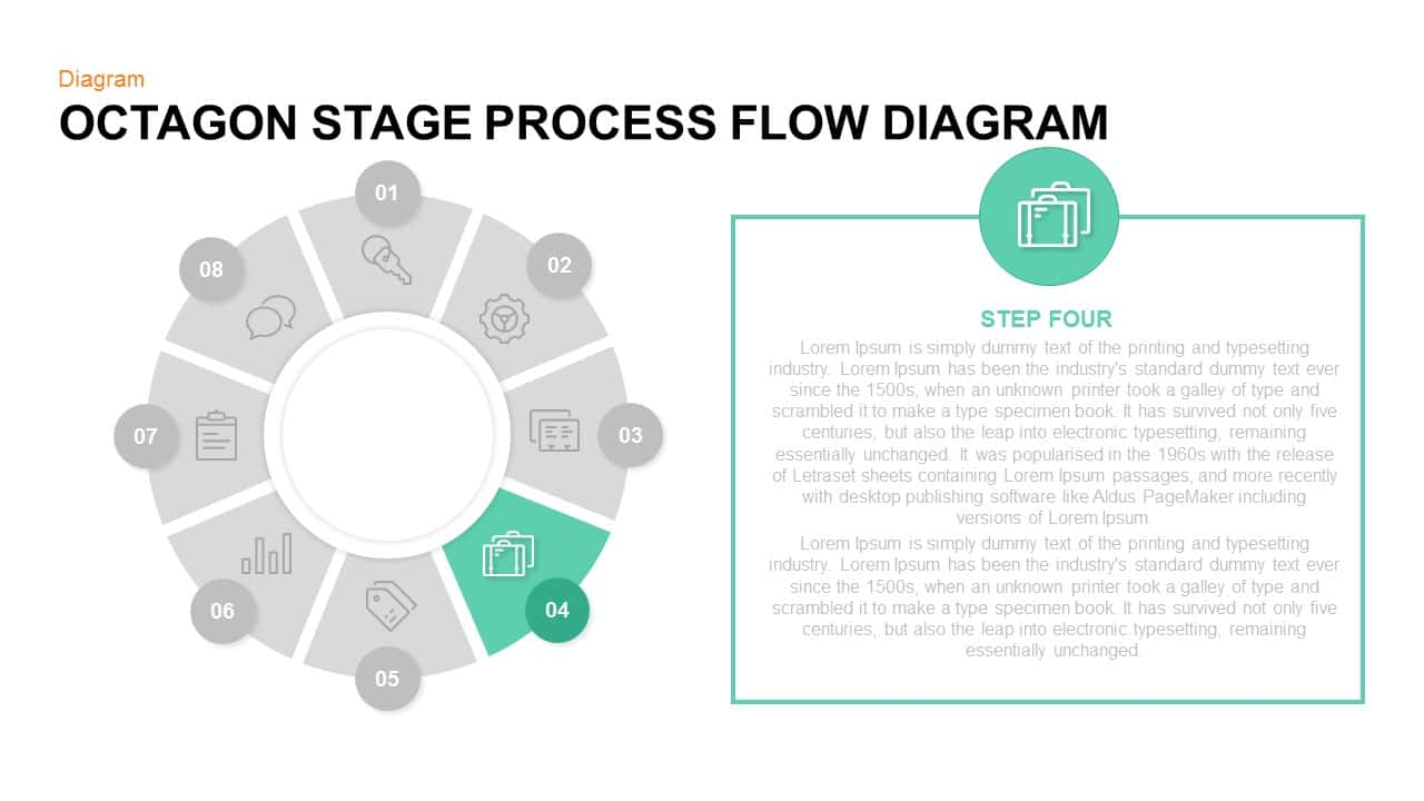 Octagon Stage Process Flow Diagram Powerpoint and Keynote template