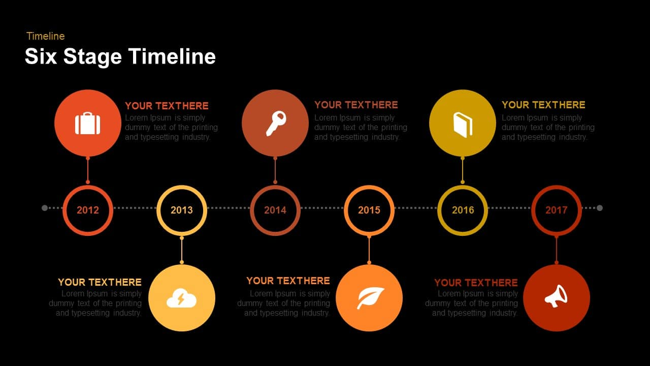 Six Stage Timeline Powerpoint and Keynote template