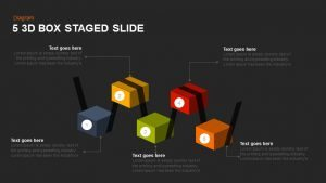 5 Staged 3d Box PowerPoint Template and Keynote Slide