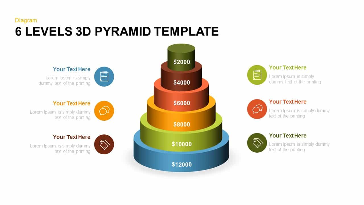 6 Levels 3d Pyramid PowerPoint Template - SlideBazaar