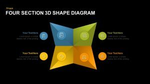 4 Section 3D Shape Diagram Template for PowerPoint and Keynote