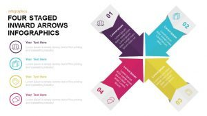 4 Staged Infographics Inward Arrow PowerPoint Template and Keynote