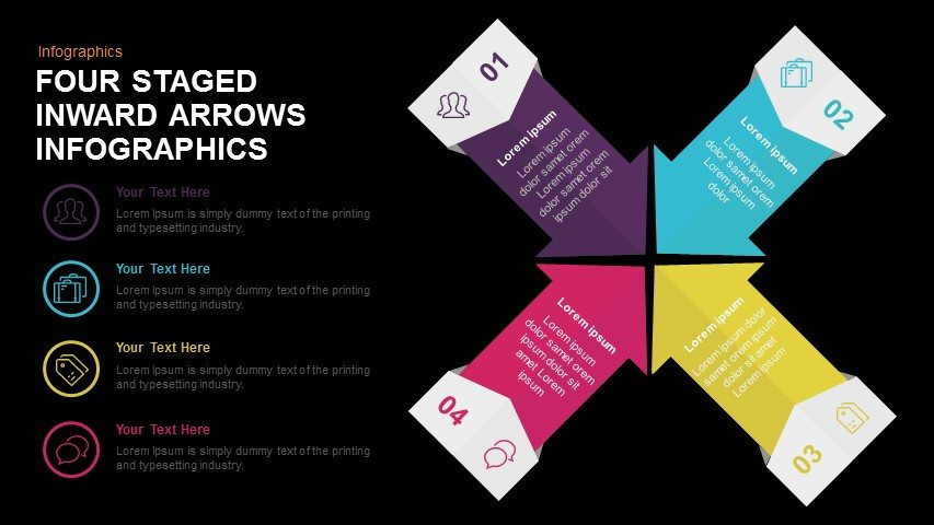 Four Staged Inward Arrows Infographics