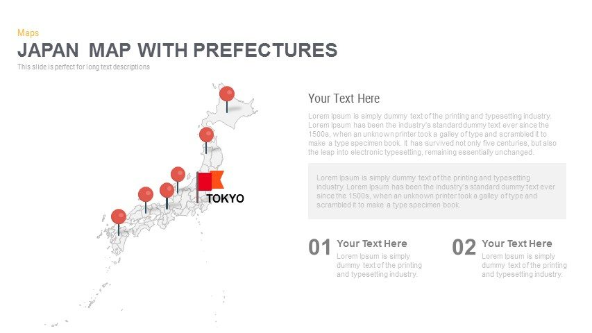 Japan Map With Prefectures Powerpoint and Keynote template