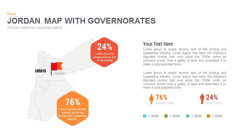 Jordan Map With Governorates Powerpoint and Keynote template