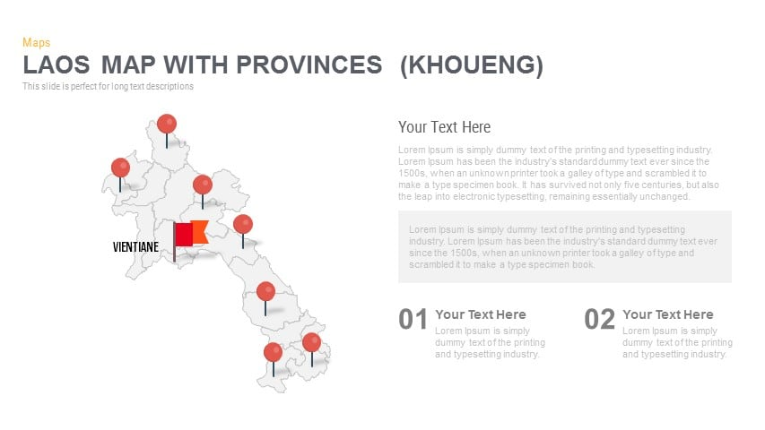Laos Map With provinces Powerpoint and Keynote template