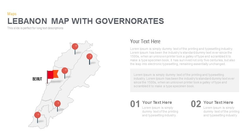 Lebanon Map With governorates Powerpoint and Keynote template