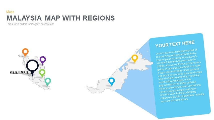 Malaysia Map With Regions Powerpoint and Keynote template