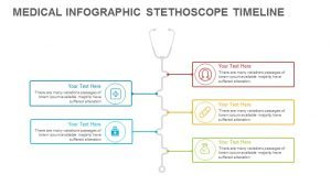 Infographic Timeline Medical Stethoscope PowerPoint Template and Keynote Slide