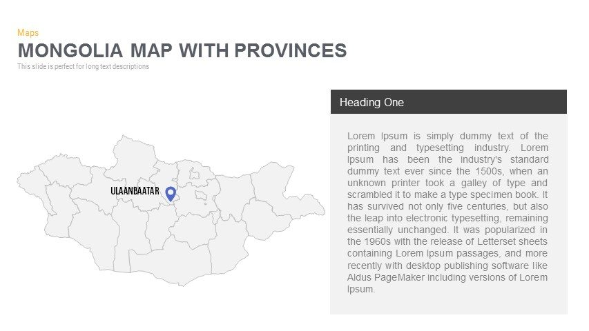 Mongolia Map With provinces Powerpoint and Keynote template
