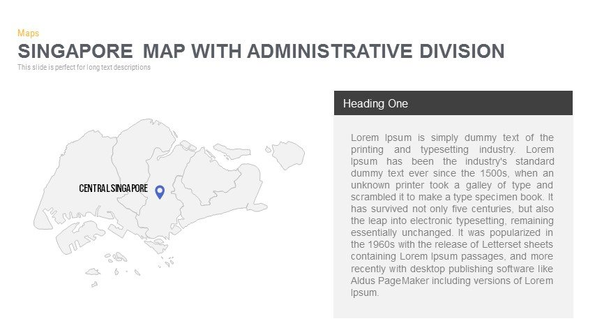 Singapore Map With Administrative Division Powerpoint and Keynote template