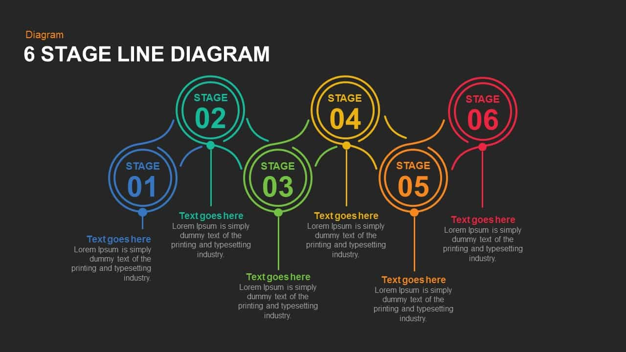 7 and 6 Stage Line Diagram PowerPoint Template and Keynote Slide